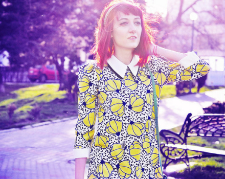 The 60's flower print dress