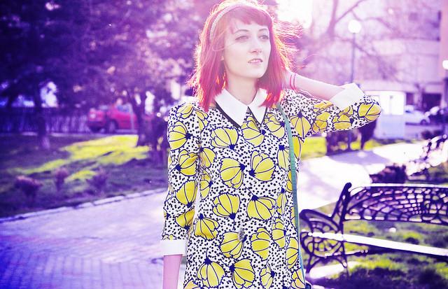 The 60's flower print dress